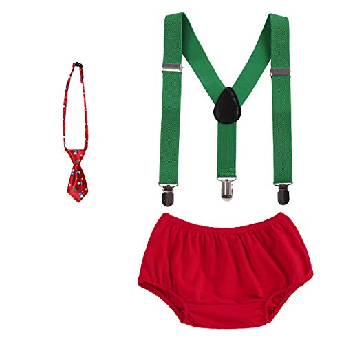 Baby Boys Cake Smash Outfits First Christmas Birthday Fancy Costumes Neck Tie Bowtie Adjustable Elastic Clip Y Back Suspenders Bloomers Pants Headband Clothes set Green & Red + Snowman Bow Tie