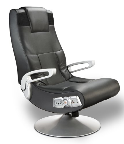 - Ace Bayou X Rocker 5127401 Pedestal Video Gaming Chair, Wireless, Black