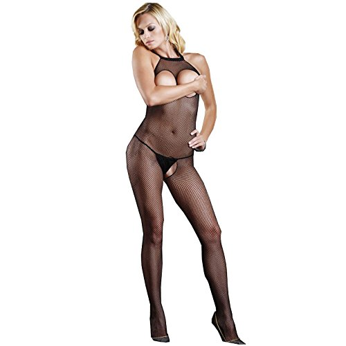 Black Crotchless Bodystocking Fishnet Stockings Striped Nightwear Sexy Lingerie for Women for Sex Open Crotch Bust Lace Mesh Bodysuit Underwear Transparent