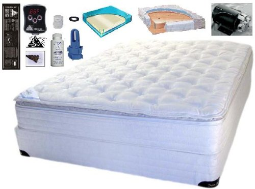 King Size 76x 80 Cotton Pillowtop Softside Waterbed Mattress with Digital Heater, Liner, Your choice of Bladders and a Fill Kit W/ (Waterbed Free Flow Set)