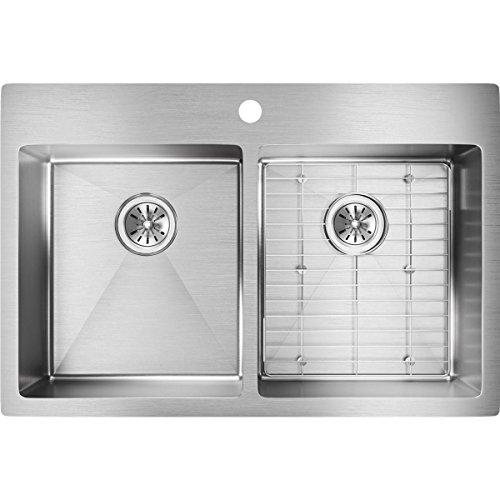 Elkay ECTSR33229BG0 18-Gauge Stainless Steel 33-Inch X 22-Inch x 9-Inch Double Bowl Kitchen Sink, Polished Satin -