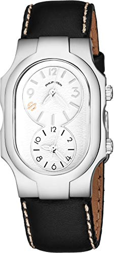 Philip Stein Signature Womens Natural Frequency Technology Watch - Classic White Face Dual Time Zone Ladies Watch - Stainless Steel Black Leather Band Analog Quartz Fashion Watches for Women