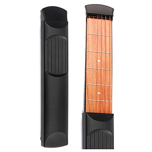 Qingdao Portable Pocket Guitar 6 Fret Model Wooden Practice 6 Strings Guitar Trainer Tool Gadget for Beginners (Color Black) by Qingdao