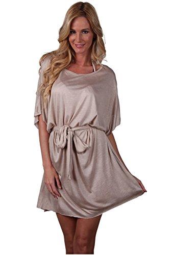 Ingear Belted–Chaqueta vestido verano playa encubrir fabricado en EE. UU. Beige