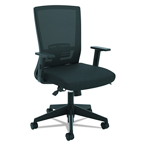 HON Entire Mesh Task Chair – High Back Work Chair with Adjustable Arms, Black (HVL541)
