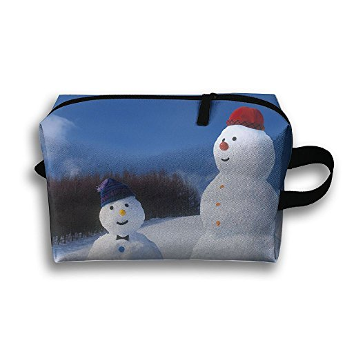 Red Hat Lady Snowman - Michgton Cosmetic Bag Funny Snowmans With Red Blue Hats Womens 3D Printing Travel Multifunction Makeup Case