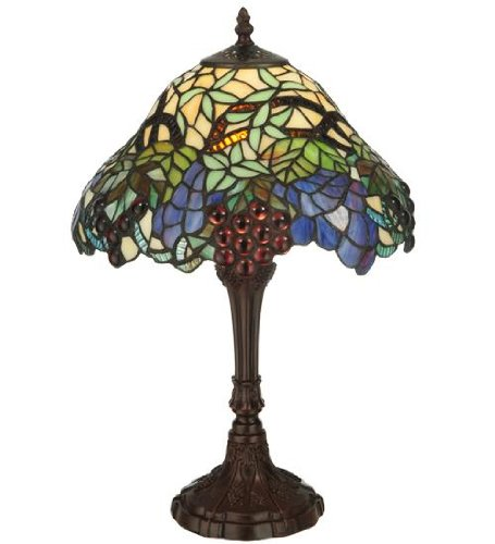Meyda Tiffany 125093 Spiral Grape Accent Lamp, 18.5