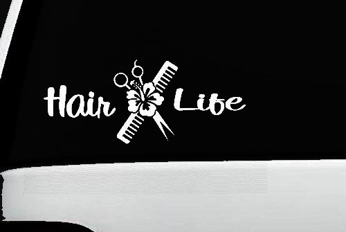 Hair Life Hair Stylist Decal Vinyl Sticker|Cars Trucks Vans Walls Laptop| White |7.5 x 3.25 in|CCI1053 -