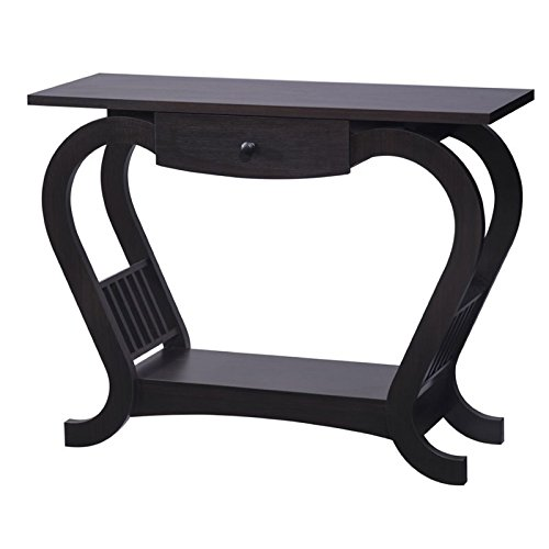 Bowery Hill Modern Curved Console Table in Espresso