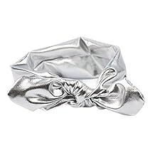 YAZILIND Cute Accessories Rabbit Ears Headband Elastic PU Hair Band Baby Girls Head Wrap Silver