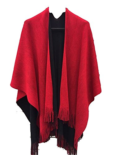 Women's Winter Knitted Cashmere Poncho Capes Shawl Sweater (Black-red)