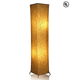 52'' LED Floor Lamp & 2 Light Bulbs,Contemporary Roman Columns Standing Floor Lamps for Living Room Bedroom Warm Atmosphere(Tyvek Dupont 10 x 10 x 52 inch)