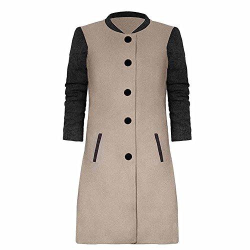 iYBUIA Fall Womens Print Casual Patchwork Long Sleeve Cardigan Jacket Lady Coat Jumper Knitwear(Khaki,M)