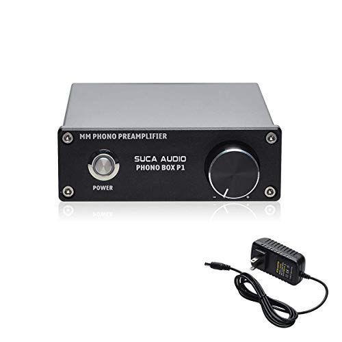 Phono Turntable Preamp, SUCA-AUDIO Mini Phonograph Stage Preamplifier RIAA MM Turntable Pre Amp - Compatible with LP Vinyl Recorder Players, Turntables with RCA Input & Output