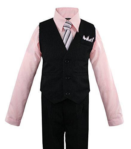 Boys' 4 Piece Pinstripe Vest Shirt Tie Pant and Hanky Set Pink - 7 ()