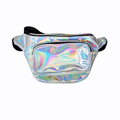 MSFS Women Hologram Bum Waist Bag Laser Funny Pack Waterproof Shiny Neon Pack for Travel Festival Beach (Silver) by MSFS (Image #3)