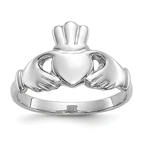 (10k White Gold Irish Claddagh Celtic Knot Band Ring Size 7.00 Fine Jewelry Gifts For Women For Her)