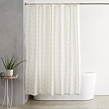 AmazonBasics Shower Curtain with Hooks - 72 x 72 Inch, Natural Herringbone