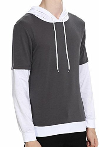 Shirt Sleeve Men UK Fake Hooded Long Drawstring 1 today Two 508wqCvvx