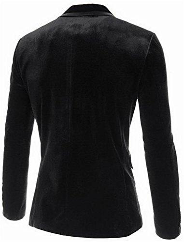 Pandapang Men's Peaked Lapel Slim Fit One Button Velvet Blazer Jacket Black L by Pandapang (Image #1)