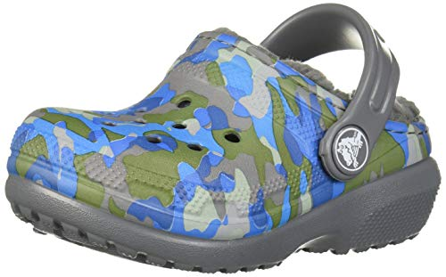 Crocs Kid's Classic Printed Lined Clog, Charcoal 8 M US Toddler (Boys Crocs Toddler Lined)