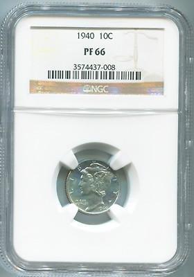 1940 Mercury Dime, NGC PF66, Proof! - Sports Memorabilia - Ngc Dimes