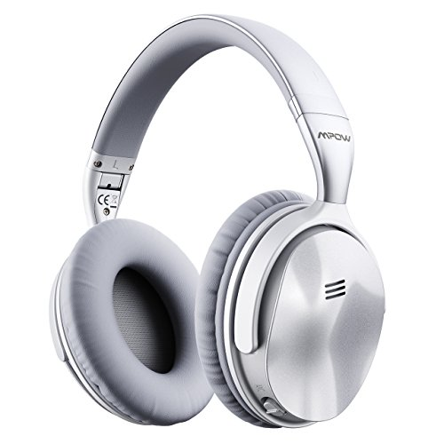 Headphones Headphones Silver (Mpow H5 [2018 Upgrade] Active Noise Cancelling Headphones ANC Over Ear Wireless Bluetooth Headphones w/Mic, Electroplating Stylish Look Comfortable Protein Earpads Travel Work Computer Home)