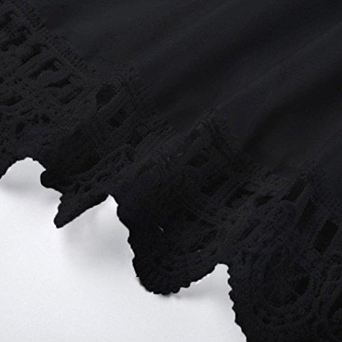 Femmes Trim URSING Casual Empire de Dentelle Dcontracte Dress Robe Noir Nu paule Mini lgant Solid Mini Sexy Couleur Plage Robe Floral Mode ZWZxrEwH