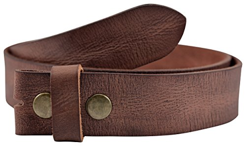 Vintage Full Grain Buffalo Leather Solid 1-Piece Belt Strap - Brown - by TheBeltShoppe.com (36) (Buffalo Buckle)