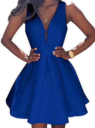 Ball Dresses Gown Party Homecoming Simple Prom Blue Short AiniDress Royal Sleeveless Little Dress ZRzqZO1w