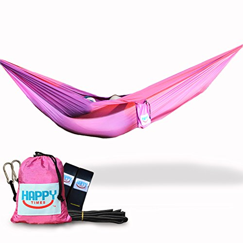 Happy Times Parachute Hammock and Tree Straps with Paracords and Carabiners Bundle - Pink and Purple - Lightweight, Nylon, Portable, Camping, Travel, Backpacking, Hiking, eno -