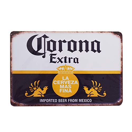 - PEI's Retro Vintage Tin Sign, Corona Beer from Mexico, Home Bar Man Cave Decor, 8