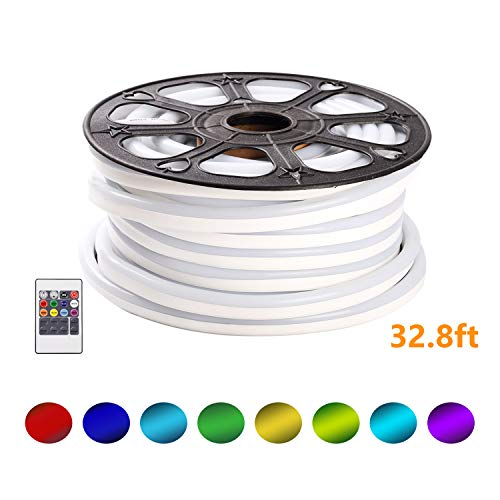 Shine Decor 110V RGB 8Colors Changeable LED Neon Rope Lights   Plug & Play Light Strip for Indoor Outdoor Lighting   Safe Flexible Glowing Lights for Party Decorations & Ambient Spaces   32.8ft