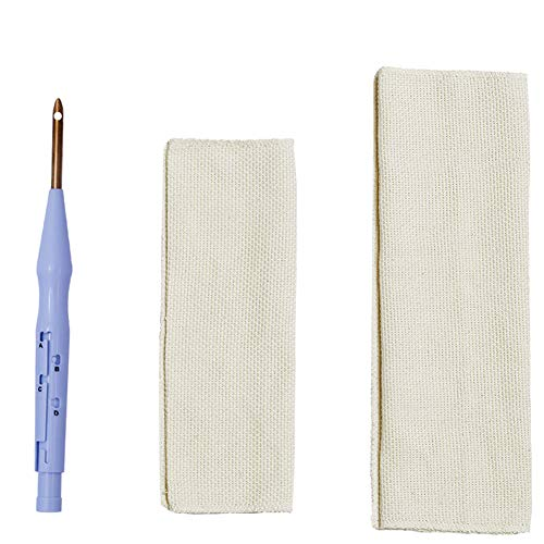 Embroidery Pen,Embroidery Punch Needle Weaving Tool with 2 Pieces Linen Needlework Fabric,Adjustable Rug Yarn Needle Felting Threader Needles for Stitching Applique Embellishment (Embellishment Needle)