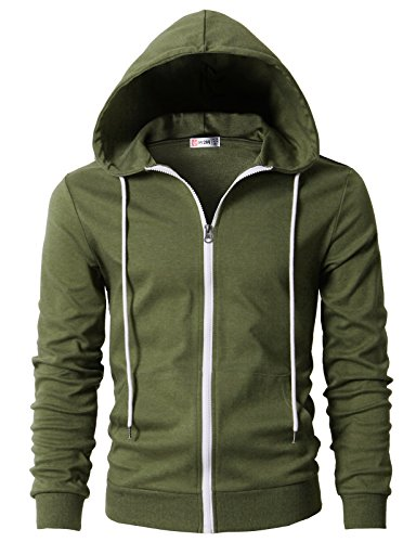 Quilted Hooded Zip Sweatshirt (H2H Men's Square Pattern Quilted Hoodie Sweatshirt OliveGreen US 3XL/Asia 4XL (CMOHOL042))