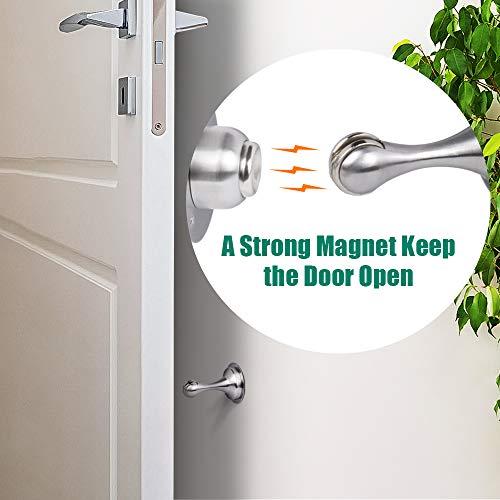Door Stopper,2 Pack Magnetic Door Stops, Stainless Steel Door Catch, No Need to Drill - 3M Double-Sided Adhesive Tape, Keep Your Door Open, Door Stopper from Heleman Photo #2
