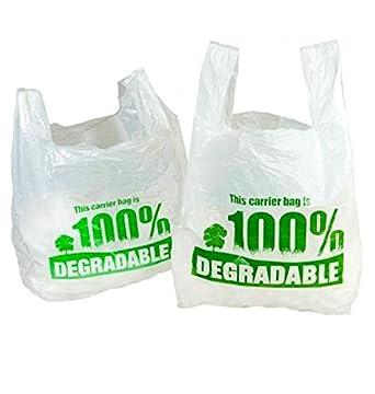 Bolsas de transporte grandes de 33 x 48,2 x 58,4 cm, 100 % biodegradables, color blanco, bolsas de plástico respetuosas con el medio ambiente, de Sabco, 1