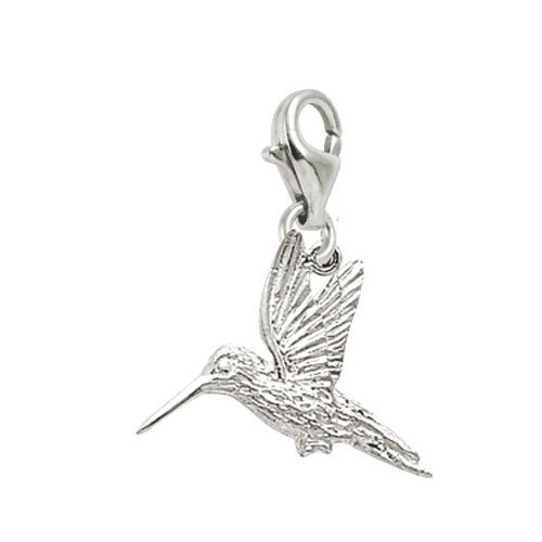 Rembrandt Charms Hummingbird Charm with Lobster Clasp, 14k White Gold (Charm White Hummingbird Gold)