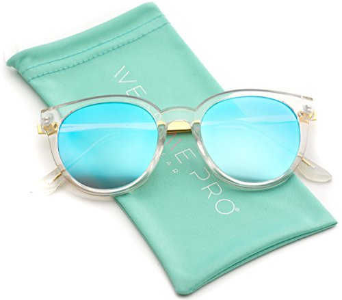 WearMe Pro - Mirrored Lens Round Thick Frame Trendy Women - Sunglasses Frame Clear Mirrored