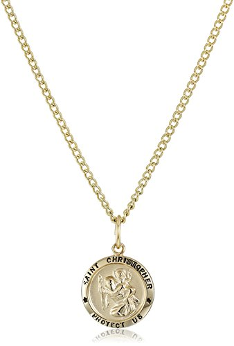 14k Gold-Filled Small Round Saint Christopher Pendant Necklace with Gold Plated Stainless Steel Chain, 18