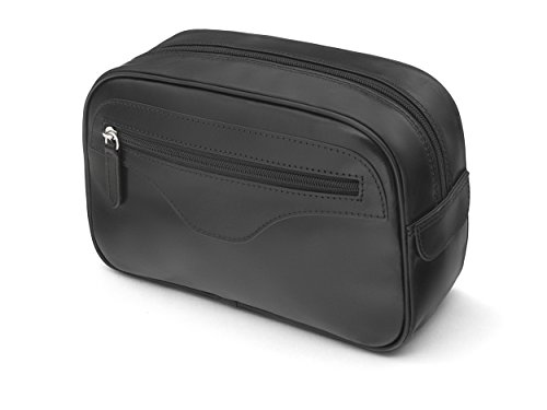 SAGEBROWN Black Fine Leather Wash Bag by Sage Brown