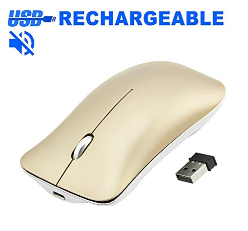 Rechargeable Wireless Mouse, FIRSTMEMORY Slim Silent Wireless Portable Mouse Cordless Noiseless Optical Computer Mice, Ultra Thin DPI 1600  for Notebook, PC, Mac, Laptop, Computer (Gold)