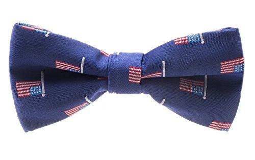 American Flag Bowtie for Men - Pre-tied Adjustable Length Bow Tie - Blue ()