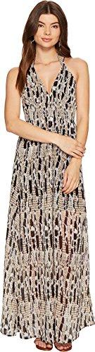 BB Dakota Women's Willow Printed Chiffon Maxi Dress, Black, -