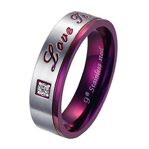 Men - Size 7 - KONOV Men's Women's Stainless Steel Love Promise Ring Couples Wedding Bands
