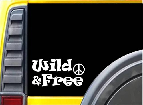 Wild and Free Hippie Decal Vinyl Sticker|Cars Trucks Vans Walls Laptop| WHITE |5.5 x 3 - Ideas Hippie Easy Costume