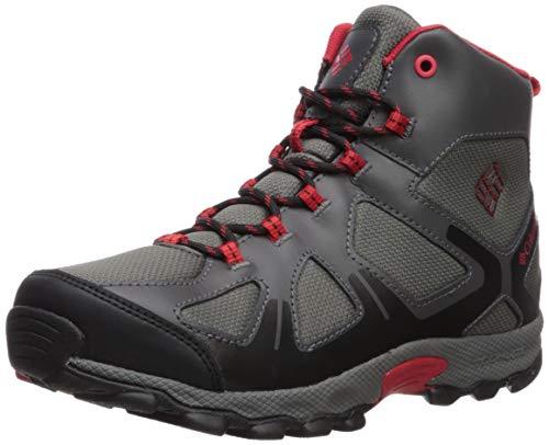 Columbia Boys' Youth Peakfreak XCRSN MID Waterproof Hiking Shoe, City Grey, Bright red, 5 Regular US Big Kid