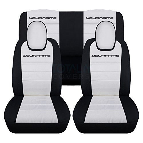 2010-2015 Chevy Camaro 2-Tone Seat Covers with Your Name/Text: Black & White – Full Set (22 Colors) Coupe/Convertible Seat Belt Holder Compatible 5th Generation Chevrolet 2011 2012 2013 2014