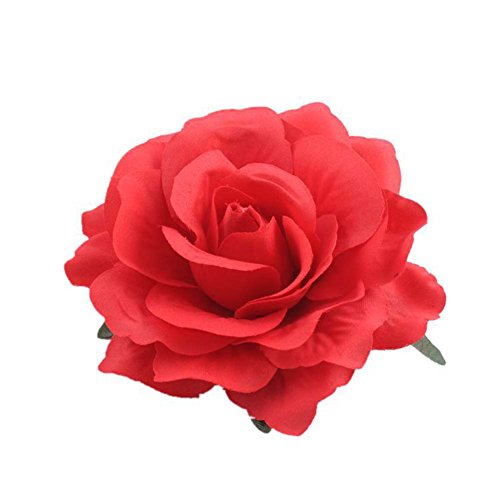 Lovefairy Beautiful Rose Flower Hair Clip Pin up Flower Brooch For Party Travel Festivals (Red)