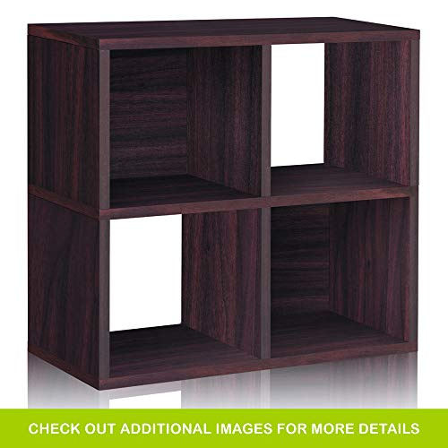 (Way Basics Eco 4 Cubby Bookcase, Stackable Organizer and Storage Shelf, Espresso Wood Grain (Tool-Free Assembly and Uniquely Crafted from Sustainable Non Toxic zBoard paperboard))
